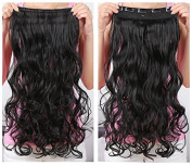 Best selling!Good quality 5 Clips 50cm Synthetic Long Wavy/Curly One piece Clip In Hair Extensions Hairpieces 3/4 Full Head Clip in Hair Extensions