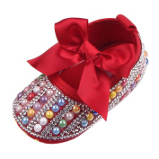 Newborn Baby Bow Bling Crystal Pearl Mary Jane Toddler Prewalker Shoes