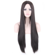 Long Silk Straight Women Wigs Synthetic Black Wig Female Party Wig
