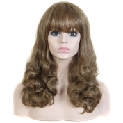 Long Wavy Curly Women Wigs with Straight Bangs Female Party Cosplay Wig