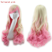 Enjoydeal Heat Resistant Long Curly Hair Wavy Party Anime Wigs Yellowish Pink