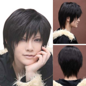 Enjoydeal New Heat Resistant Male Black Short Straight Hair Party Full Wigs