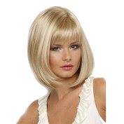 wenmei Women's Bob Short Straight Blonde Oblique Simulation scalp Synthetic Hair Wig