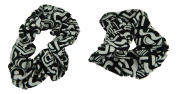 PAIR OF RETRO BLACK AND WHITE SCRUNCHIES PACK OF TWO COMES AS A PAIR