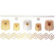 COKOHAPPY Metallic Temporary Tattoo , Gold Feather Snowflake for Men Women