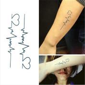 1 Sheet Waterproof Temporary Tattoo Sticker Electrocardiogram Heart Decal Body Art Transfer Tattoos
