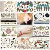NUOLUX Temporary Tattoos Metallic Tattoos Waterproof 47 Different Patterns - 10 Sheets
