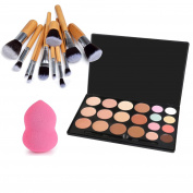 VONISA 20 Colour Makeup Cream Essential Contour Kit-Camouflage Concealer-Professional Face Corrector Highlighting Palette-Cosmetics Foundation Contouring Highlighter+Vegan 11pcs Make Up Brushes+puff