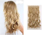 S-noilite - Fashion 60cm Clip in Hair Extensions One Piece Long Curly Wavy 3/4 Full Head Golden mix Ash Blonde