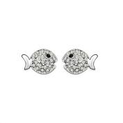 Babao Jewellery Kiss Fish 18K Platinum Plated Swarovski Elements Cubic Zirconia Crystal Stud Earrings