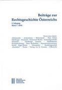 Beitrage Zur Rechtsgeschichte Osterreichs [GER]