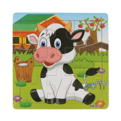 Children's Puzzles Toys, Brisky Babies' Wooden Dairy Cow Jigsaw Toys For Kids Education And Learning