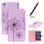Huawei P8 Lite Case,Flip Case for Huawei P8 Lite,Ukayfe Huawei P8 Lite Wallet Case with Strap,Pink Dandelion Design PU Leather Flip Protective Skin Case Cover with Magnetic Closure Built-in Credit Card Slot and Soft TPU Bumper Case Cover for Huawei P8 ..