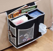 Bedside Caddy Beds/Bunks Hanging Organiser Pocket Sofa Cabin Beds Boy Bot Bed Tidy Storage Bag TV Remote Controller iPad iPhone Tissue Books Magazine Glasses Cable Pen Kids Toys, Black
