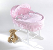 Luxury British Made Pink Broderie Anglaise Wicker Moses Basket with Rocking Stand