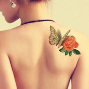 TAFLY 5 Sheets Waterproof 3d Blue Butterfly Rose Flower Sticker Tattoo Foil Decal Fashion Body Art Fake Tattoo