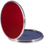 FMG Round Folding Travel Mirror 5X Magnifying 13cm Red