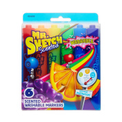 Mr. Sketch Washable Scented Watercolour Markers, Chisel-Tip, Set of 6, Assorted Colours