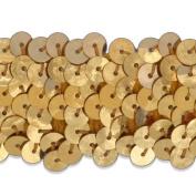 3 Row 3.2cm Stretch Sequin Trim, Las Vegas 3 Style, Midas Gold, 9 YD