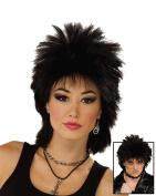 NEW ROCK PUNK BLACK WIG UNISEX 80'S FANCY DRESS
