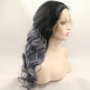 Kylie Jenner dark root Heat Resistant Fibre long Hair Ombre blonde Body Wave Hair Wigs Two Tone Synthetic Lace Front Wig For Women Drag Queen Hair Cosplay Wig
