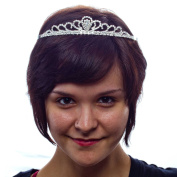 High Society Rhinestone Tiara with Side Combs, Silver