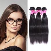 Honey Qiao Hair Brazilian Virgin Hair Straight Wave 7A Unprocessed Virgin Human Hair Extensions 3 Bundles Brazalian Human Hairs, Mixed Length