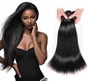Angel Hair Virgin Brazilian Human Hair Sexy Silky Straight 3 Bundles, Pack of 3,100% Unprocessed Human Hair Weave Natural Black Colour