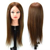 Stepupgirl Manikin Trim Haircut Training Makeup Face Head with 50cm Light Brown Straight Human Real Hair and Clamp