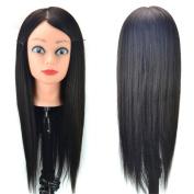 Stepupgirl Manikin Trim Haircut Training Makeup Face Head with 50cm Black Straight Human Real Hair and Clamp