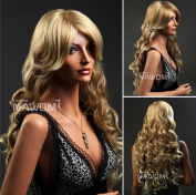AABABUY New Long Wave Curly Wig Blonde Wig Fashion Realistic Europe Wig Synthetic Wig