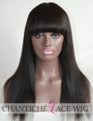 Chantiche® Silk Top Spinning Hair Whorl Light Yaki Straight Lace Wigs With Bangs For Black Women Natural Looking Glueless Indian Remy Human Hair Replacement Full Wig 46cm #1B