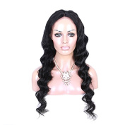 100% Indian Virgin Human Hair 1# Colour Body Wave Full Lace Wigs With Baby Hair