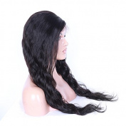 100% Peruvian Virgin Human Hair Natural Black Colour Water Wave Full Lace Wigs With Baby Hair