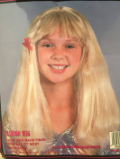 Blonde with Bangs Medium Long Costume Wig with 2 Barrettes