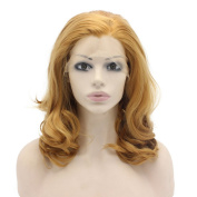 Mxangel Medium Long Wavy Blonde Synthetic Lace Front Blond Wig Natural