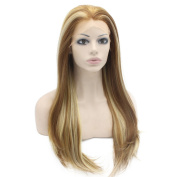 60cm Long Straight Highlight Blonde Synthetic Lace Front Wig Natural Heat Friendly Fibre Wig at Mxangel