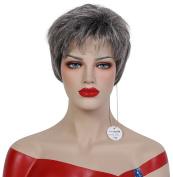 Beauty Smooth Hair Western Women Short Kanekalon Grey Curly Hair Wig 0688