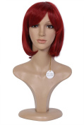 Beauty Smooth Hair Red Shoulder Length Bob Synthetic Wig for Cosplay or Mannequins Carnival or Theme Parties 0977-2