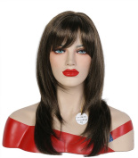 Beauty Smooth Hair Western Women Long Straight Layers with Full Bangs Wig 0777