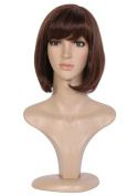 Beauty Smooth Hair Brown Shoulder length Bob Synthetic Wig for Cosplay or Mannequins Carnival or Theme Parties 0494
