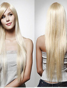 Europe And The United States Wig Female Long Straight Hair Golden Hair Synthetic Wigs Sell