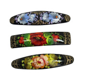 3 Russian Hand Painted Barrettes Hair Clips #0892