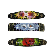 3 Russian Hand Painted Barrettes Hair Clips #0890