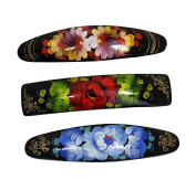 3 Russian Hand Painted Barrettes Hair Clips #0889