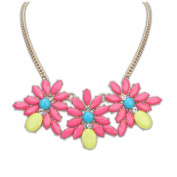 Meidus Classic Candy Colour Sweet Flower Jewel Candy Chain Alloy Necklace For Women