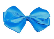 Happy Go Lucky Triple Loop Grosgrain Ribbon Hair Bow, Blue
