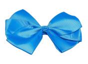 Happy Go Lucky Triple Loop Grosgrain Ribbon Hair Bow, Blue