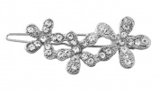 Crystal Flower Barrette Hair Clip Accessory For Bridal Wedding Prom Formal Homecoming