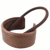 Bendable Leather Ponytail Cuff - Cognac